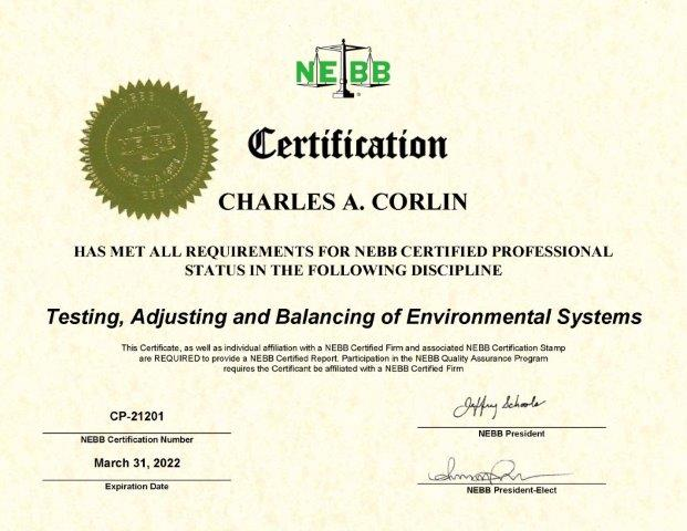 Certification - Charles Corlin Air and Hydronic Systems