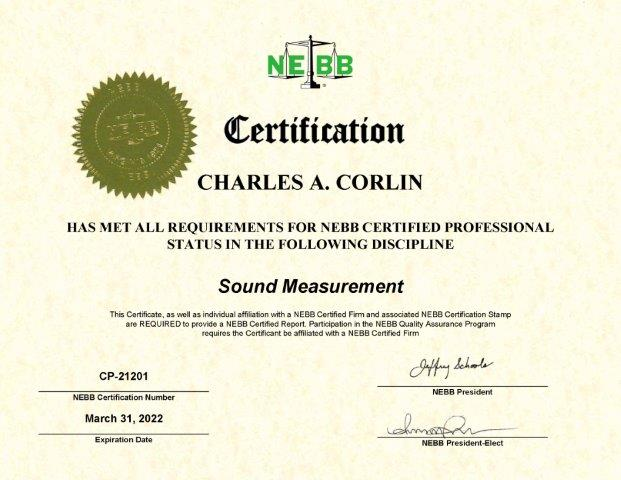 Certification - Charles Corlin Sound Measurement