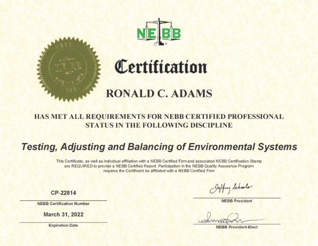Certification - Ronald Adams Air and Hydronic Systems