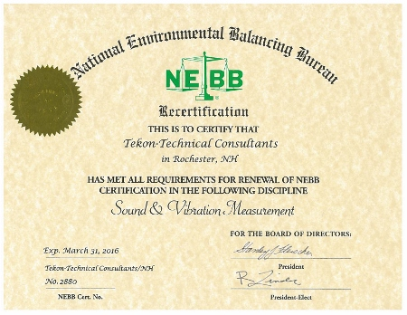 Certification - Tekon Sound & Vibration